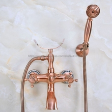Antique Red Copper Bathroom Faucet Bath Faucet Mixer Tap Wall Mounted Hand Held Shower Head Kit Shower Faucet Sets Nna361