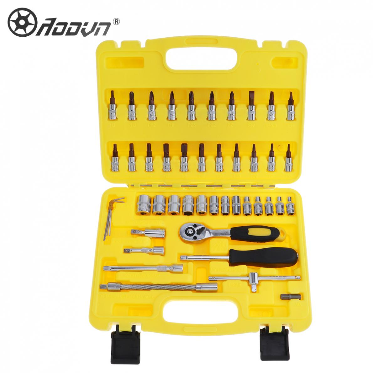46pcs Repair Tool Box Precision 1/4 Sleeve Socket Wrench Set Ratchet Torque Wrench Tool Kit for Motorcycle / Auto Repairing veconor 46pc high quality socket set car repair tool ratchet set torque wrench combination bit a set of keys chrome vanadium