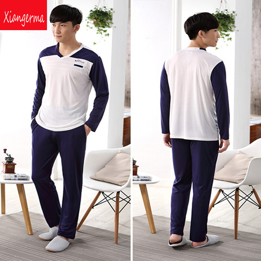 long sleeve Pajama Winter Blue Men's Pajama Sleepwear Men Nightgown Sleepwear family christmas pajamas men free shipping ZN