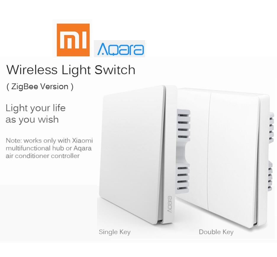 Xiao mi Aqara interrupteur mural intelligent contrôle de la lumière ZigBee Version connexion sans fil simple double clé Smart mi home mi jia APP télécommande
