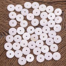 Ракушка монетная белая с перламутром круглые отверстия для изготовления