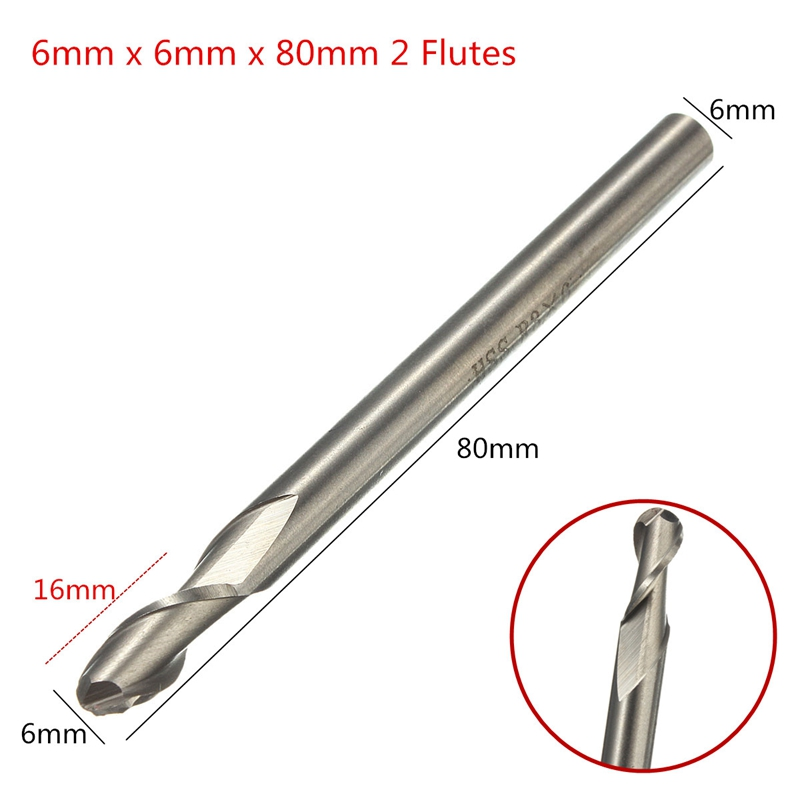 1PCS HSS & Aluminium 6mm x 6mm 2 Flute Ball Nose End Milling Lathe Cutter CNC Bit Tool 80mm Long Top Quality Drill Bits hot sale 1pc good 6mm x 6mm 3 flute hss aluminium end mill cutter extended cnc bit incisive strong and durable