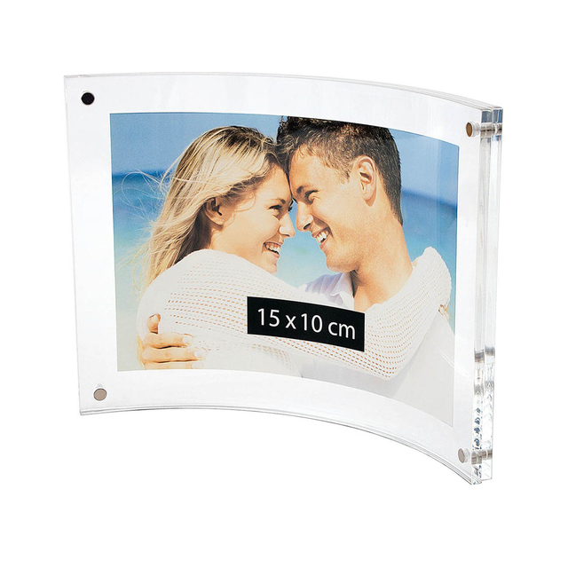 "4""x6"" Curved Sign Holder,Acrylic Photo Frame with Magnetic for Document Poster,Diploma,Certificate,Landscape PF034-2"