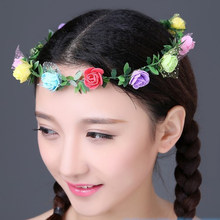 Fashion Women Girls Rose Flower Headband Hair Accessories Wedding Princess Adjustable Ribbons Hairbands Headwear Drop Shopping(China)