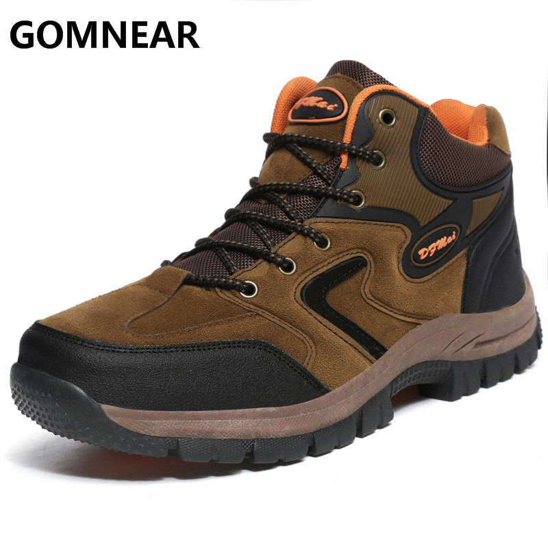 GOMNEAR Winter Men's Hiking Boots Outdoor Antiskid Trekking Climbing Hiking Shoes Breathable Man Sports Shoes Sneakers Big Size bolangdi men hiking shoes sports sneakers man athletic shoes waterproof breathable climbing camping outdoor shoes big size 39 48