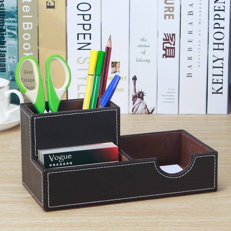 Merveilleux Aliexpress.com : Buy Creative Desktop Office Wooden PU Leather Pen Holder  Cute Pencil Case Box With Note Card Case Desk Stationery Organizer 1096B  From ...