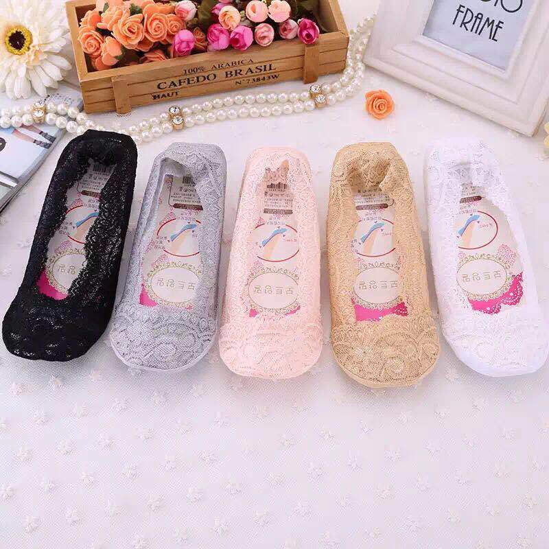 Summer Women Cotton Lace Antiskid Invisible Liner Non-slip Antiskid Slippers Anti-Slip Sock 1pair=2pcs