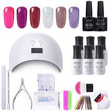 HNM 18 sztuk/zestaw żelowy lakier do paznokci zestaw narzędzi do paznokci DIY lampa UV LED Nail Remover okłady naklejki Box prezent lakier lakier Gellak zestawy