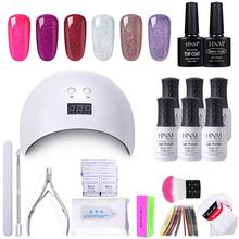 HNM 18pcs/Kit Gel Nail Polish Nail Art Tool Set DIY UV LED Lamp Nail Remover Wraps Sticker Box Gift Varnish Lacquer Gellak Sets