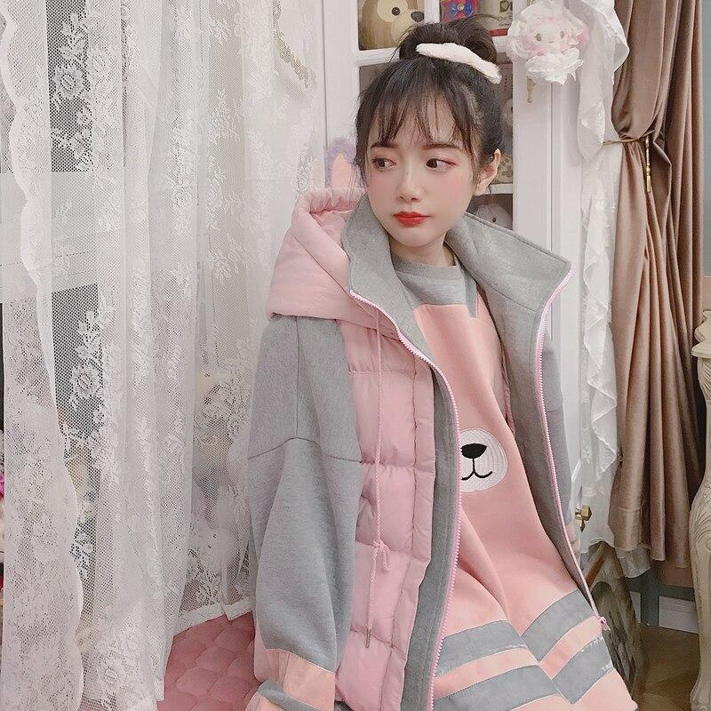 Принцесса сладкий Лолита Топы на бретельках Bobon21 ручной работы из хлопка порошок серого цвета соответствующие вышивка теплая куртка с капю