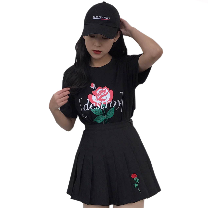 Hot Selling Harajuku Wind A word Skirt rose Embroidery pleated skirt Summer New Woman Skirt S-L