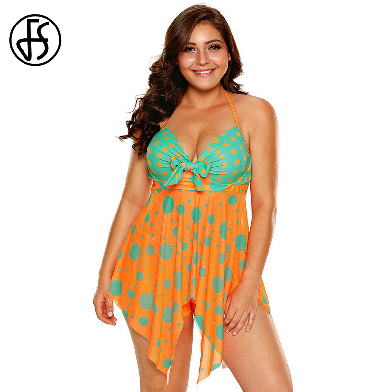 FS Women Swimwear Bikini Short Bathing Suits Padded Push Up Halter Swimsuit Trunks Plus Size Swimdress Polka Dot Bikinis Set