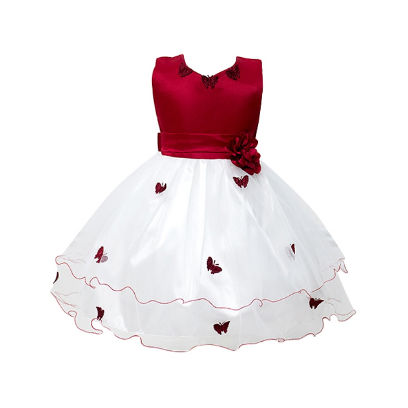 Baby Girls Flower Princess Dress Toddler Wedding Party Pageant Butterfly Dresses New toddler kids baby girls princess dress party pageant wedding dresses with waistband