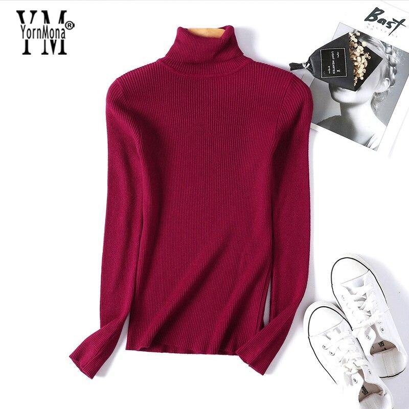 YornMona Soft Skinny Turtleneck Sweater Women 2019 New Basic Korean Style Pullover Winter Tops High Quality Women Sweater Tricot 2