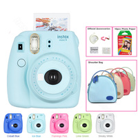 Подлинная Fuji Fujifilm Instax Mini 9 мгновенная камера комплект с сумкой на плечо и Fujifilm instax Mini мгновенная пленка Радуга, 5 цветов