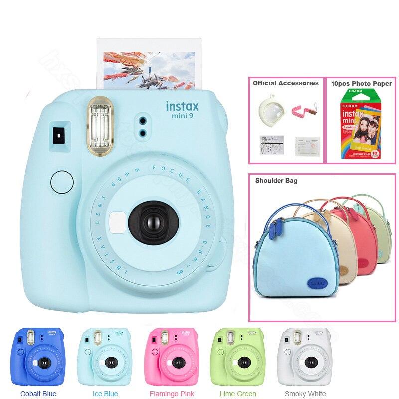 Véritable appareil photo instantané Fuji Fujifilm Instax Mini 9 avec sac à bandoulière et Fujifilm instax Mini Film instantané arc-en-ciel, 5 couleurs
