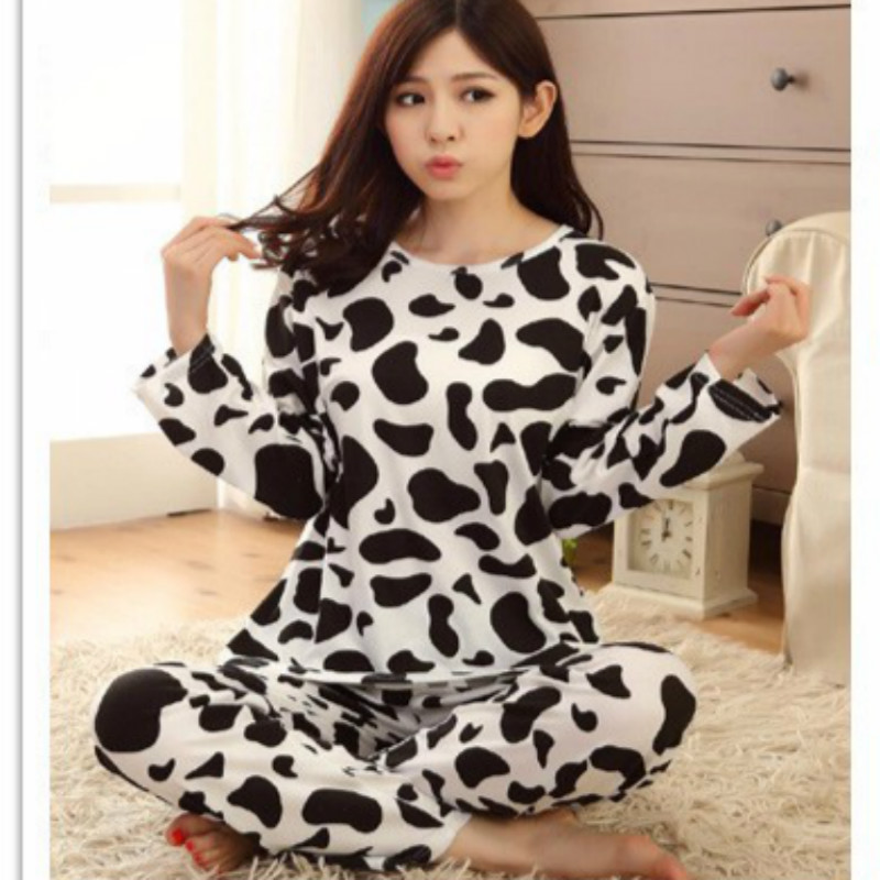 2017 New Milk Cow Autumn Pajamas For Women Long Pullovers And Trousers Milk Cow Sleepwear Sets Homewear Sleep Animal Pyjamas