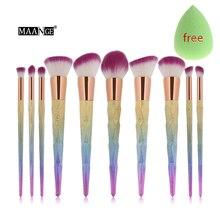 10pcs Mermaid Makeup Brushes Sets Rainbow Glitter Diamond Foundation Blush Powder Concealer Contour Blending Cosmetic Brush Kits