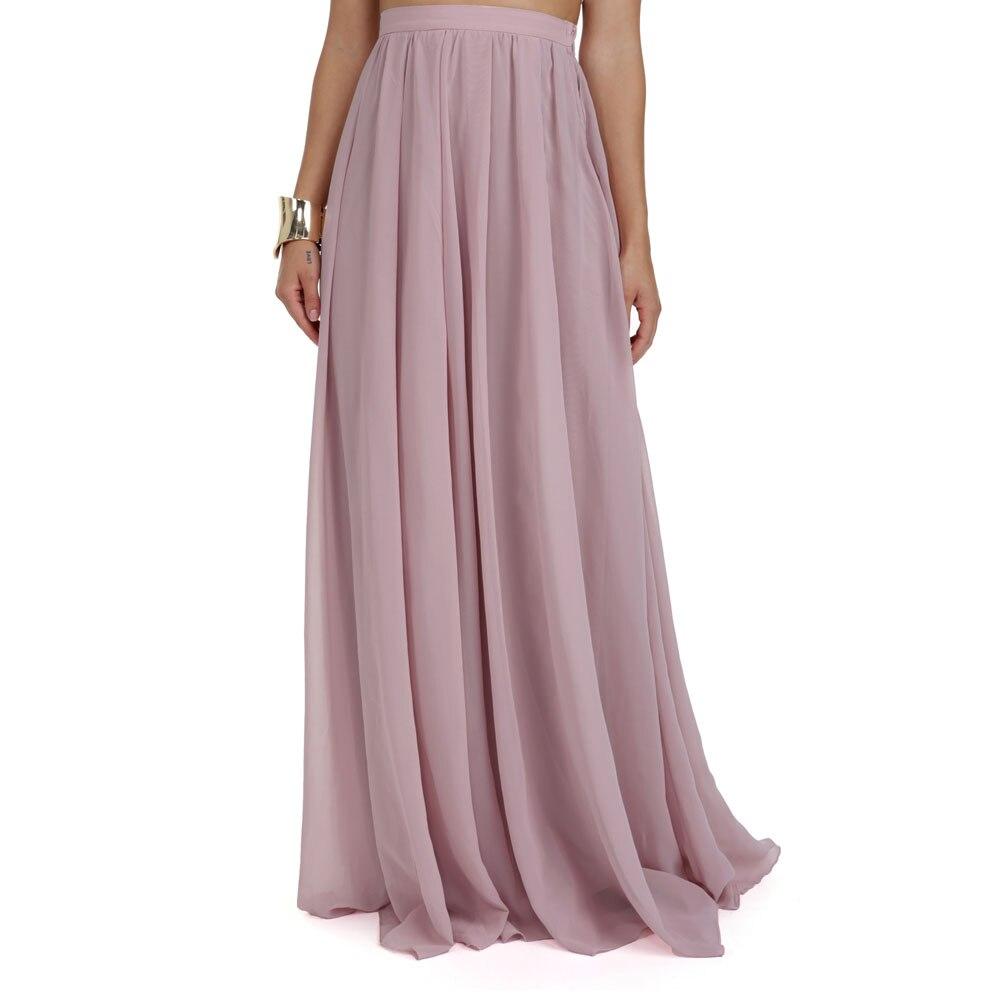 13dfeca4d New 2017 Summer Floor Length Long Chiffon Skirts For Women Mauve Color  Fashion Pleat Women Bottoms Female Skirt Saia -in Skirts from Women's  Clothing on ...