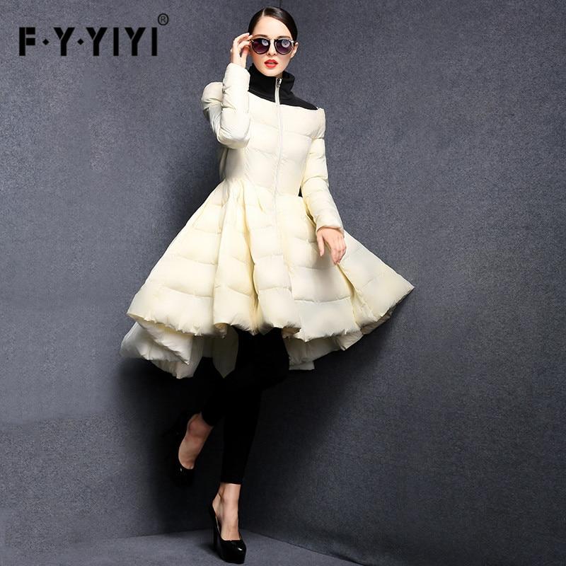 FYYIYI süllyesztett hullám szoknya 2018 új divat női téli kabátok meleg hosszú karcsú kabát női nagy swing női ruházat ruha