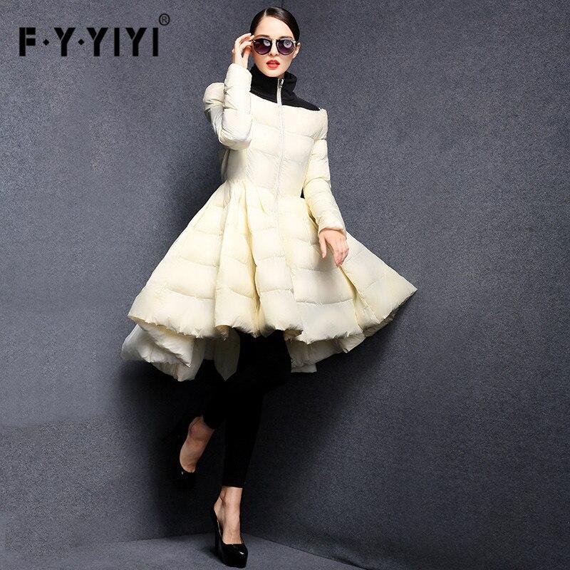 FYYIYI Plissée Vague Jupe 2018 Nouvelles Femmes De Mode D'hiver Vers Le Bas Vestes Long Manteau Chaud Slim Femme Big Swing Dames Outwear robe