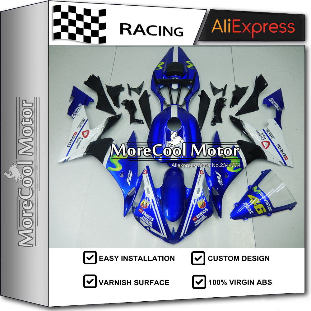 Complete YZF R1 2004-2006 Motorcycle Fairing Bodywork For Yamaha R1 2005 Blue And White Movistar Kits Free Shipping aftermarket free shipping motorcycle parts led tail brake light turn signals for yamaha yzf r1 yzf r1 2004 2005 2006 smoke