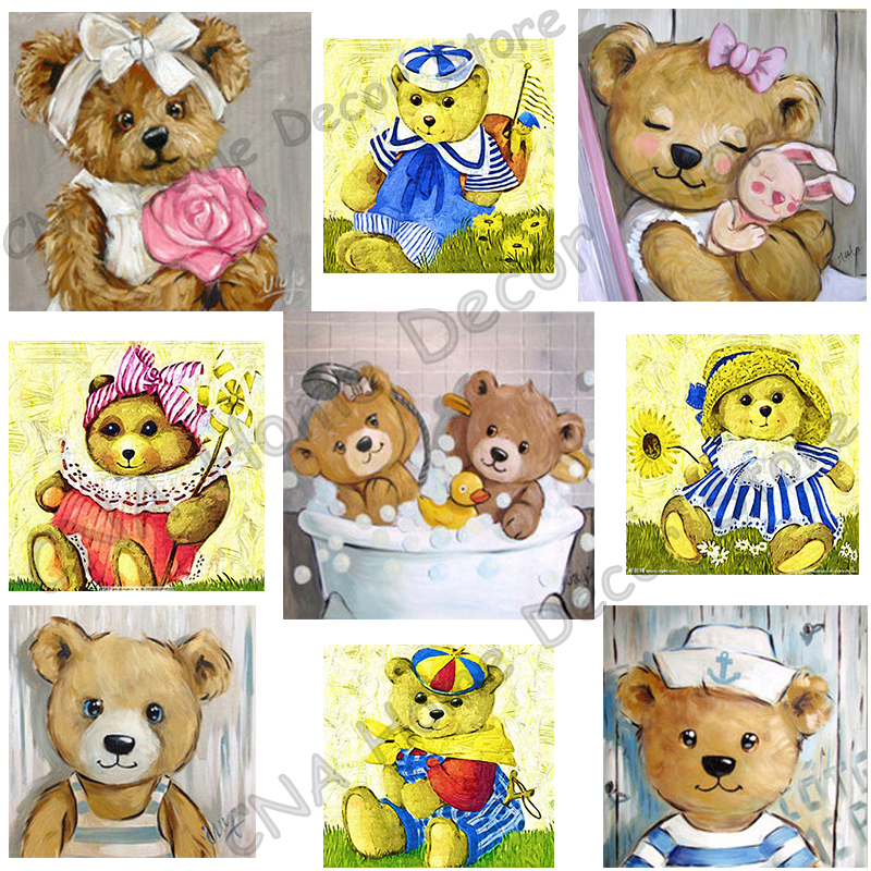 Cartoon Bears Broderi Diamond Full Mosaic Resin 5D DIY Diamond Oljemålning 3D Cross Stitch Kit Djurhem Decorations