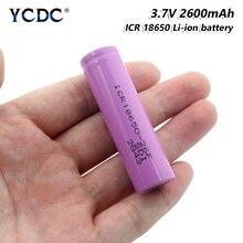 1/2/4/6/8/10x3.7 V 고품질 분홍색 편평한 ICR 18650-26F 2600mAh 재충전 용 Batteris 리튬 이온 건전지 보충