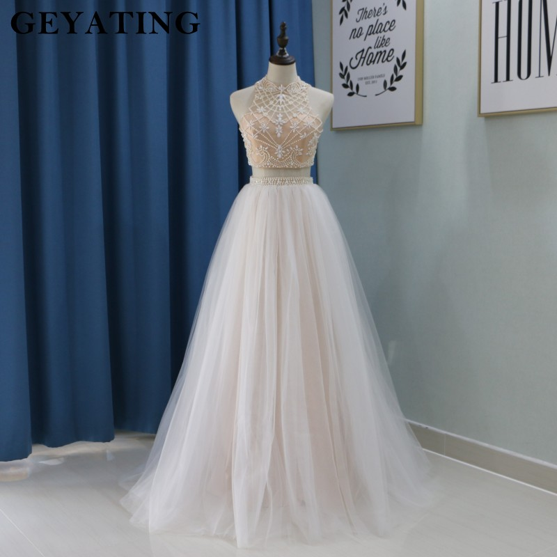 Champagne Pearl Two Pieces   Prom     Dresses   2018 Long High Neck Keyhole Open Back Girls Graduation Pageant   Dress   Evening Party Gowns