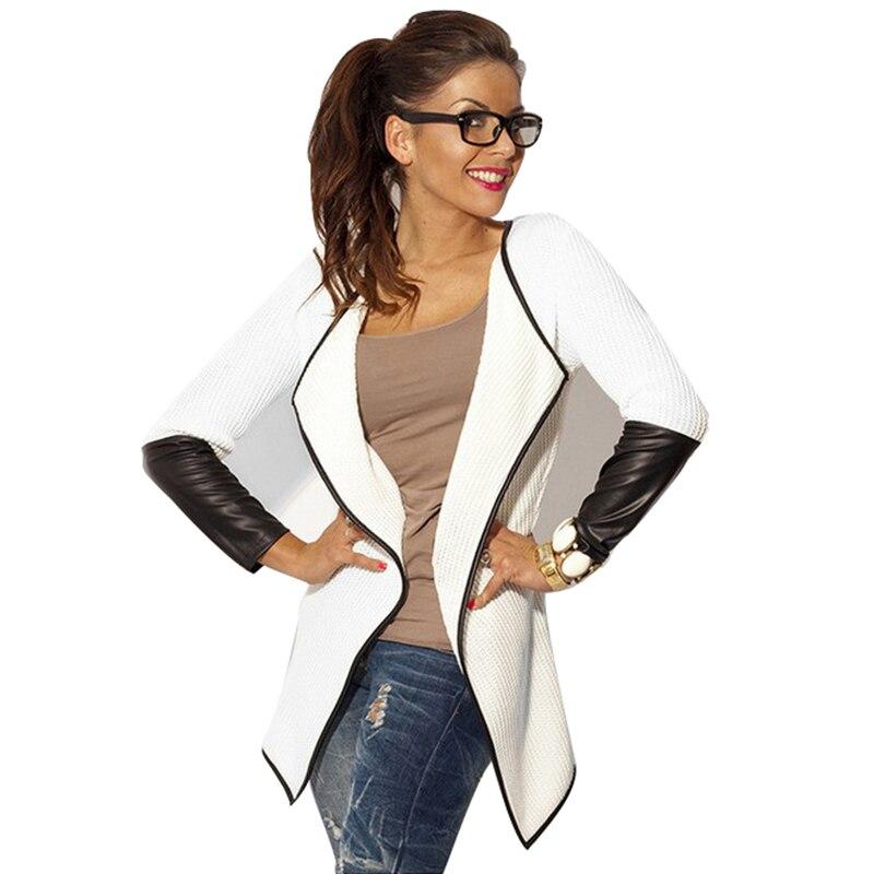 Women PU Leather Coat Spring Casual Plus Size XXXL Basic Jackets Long Sleeve Lapel Black White Patchwork Coats Outwear AF19