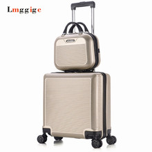16″ inch Luggage Bag Set + Suitcase, Children Women's Carry-Ons Colorful ABS Travel Box,Spinner Rolling Trolley Hardcase case