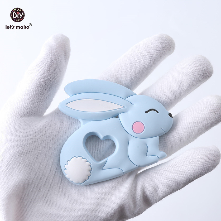 Купить с кэшбэком Let's Make Baby Teether Pet Rodent 1PC 4-6 Months Rabbit Animal Bunny BPA Free DIY Pacifier Chain Silicone Teether Teething Toys