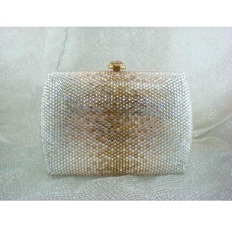 ФОТО 7759GC multi-color Crystal in Gradual change effect Lady fashion Bridal wedding Metal Evening purse clutch bag case box handbag