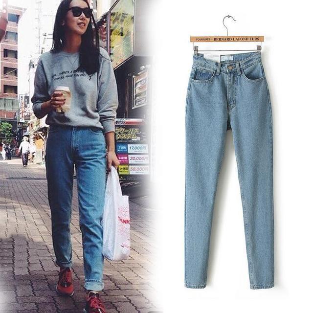 Nuevos Pantalones Lápiz Delgado de La Vendimia de Cintura Alta pantalones Vaqueros de las nuevas mujeres pantalones largos sueltos pantalones vaqueros