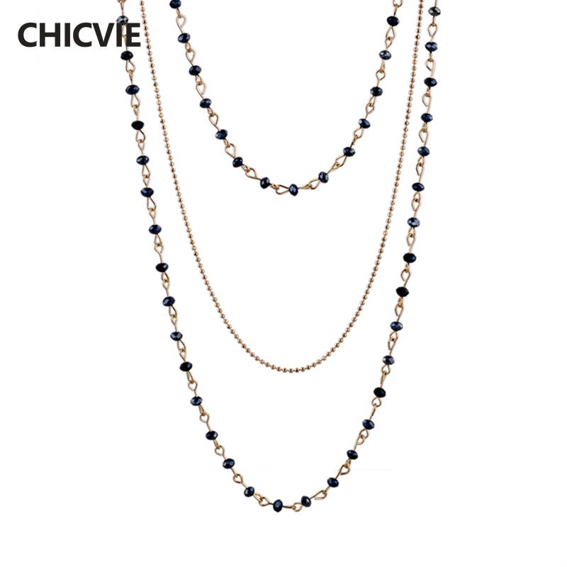 CHICVIE Crystal Beads Statement Necklaces Gold For Women ...