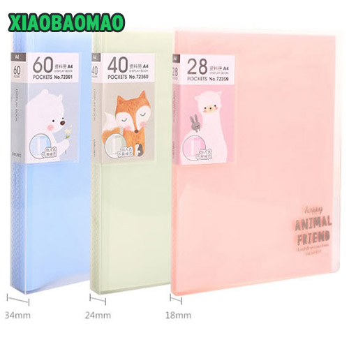 Sides A4 File Folder for documents Office stationery supplies PP folder Data Book Folder 60 pages A4 clip business folder plastic file folder a3 data book color page 20 insert clip 8k drawings album poster a3 file folder for office