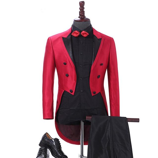 4459d2df9f4 2018 Elegant Men Suit Red Tailcoat Mens Suits For Wedding Dinner Groom  Tuxedo Jacket Pants 2Pcs