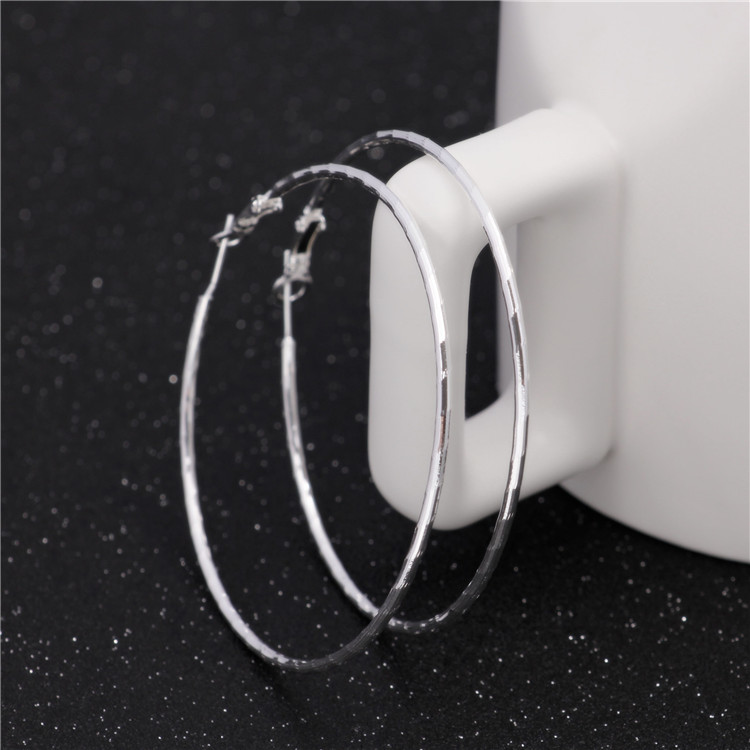 6cm with 925 logo Silver Basketball Wives Hoop Earrings For Women Bamboo Joint