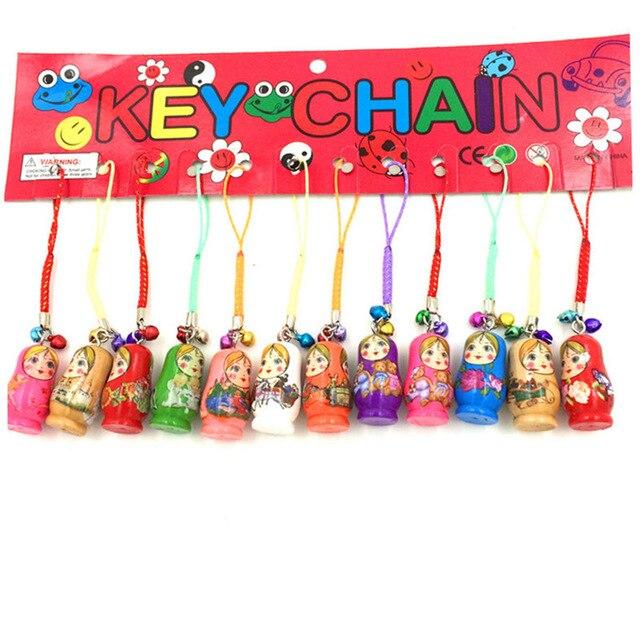 12pcs Fashion Jewelry Drip Charm Key Chains Wood Matryoshka Russian Dolls Keychains Decorative Gifts Random Color CX174