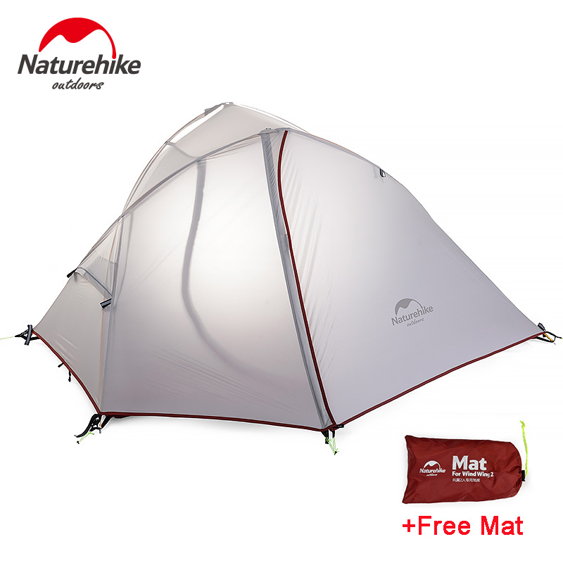 NatureHike 2 Person Double-layer Tent Ultralight 20D Silicone Rainproof Outdoor Camping Tent with Mat naturehike 1 person camping tent with mat 3 season 20d silicone 210t polyester fabric double layer outdoor rainproof camp tent
