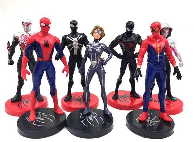 Kids Toys Action Figure: 7PCS/LOT Anime Figure The Avenger 9cm Spiderman Action