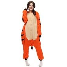 Popular cosplay Animal de la Historieta del tigre de Bengala pijamas unisex adulta onesies de forro polar de manga larga homewear
