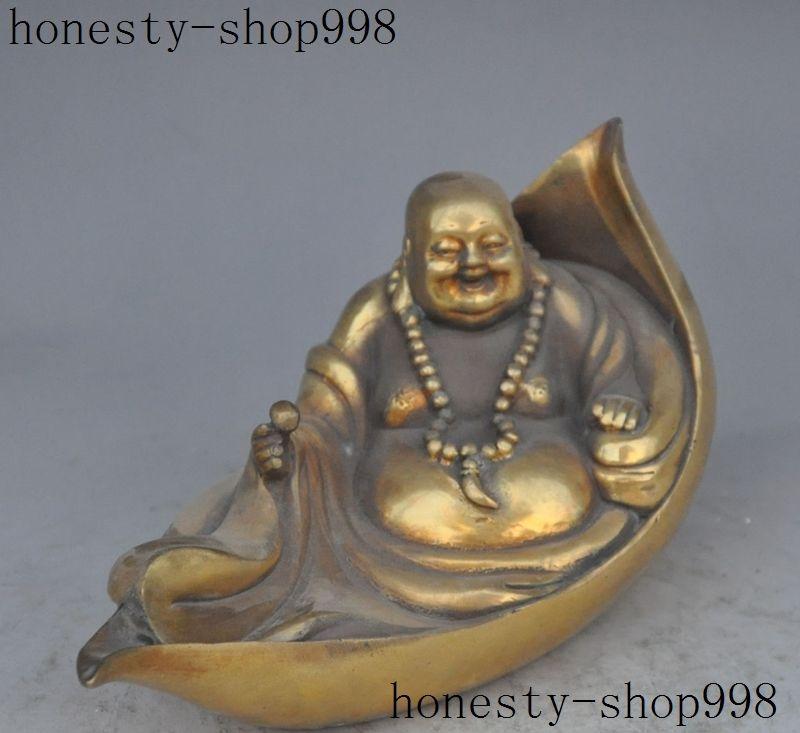 9Chinees Buddhism temple brass Wealth Lucky happy Laugh Maitreya Buddha statue9Chinees Buddhism temple brass Wealth Lucky happy Laugh Maitreya Buddha statue