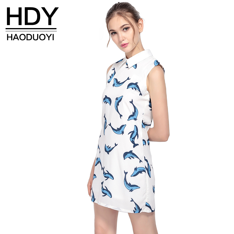 HDY Haoduoyi 2017 белый милый женский Vestido синий кит принт с открытыми плечами без рукавов мини-платье Питер Пэн воротник женская одежда