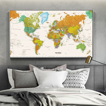 SELFLESSLY Retro World Map Canvas Painting Posters and Prints Wall Picture For Living Room Vintage Art Abstract Map Pictures(China)