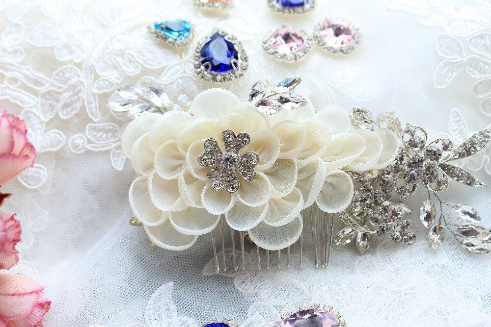 bridal headpiece with ivory chiffon flower comb, rhinestone pearl bead headpiece, bridal hair flower, bridal headband,3pieces