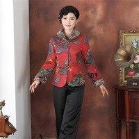 ホット販売レッド中国の伝統女性の長い袖キルトジャケット印刷蝶唐スーツouterwearm l xl xxl 3xl 4xl