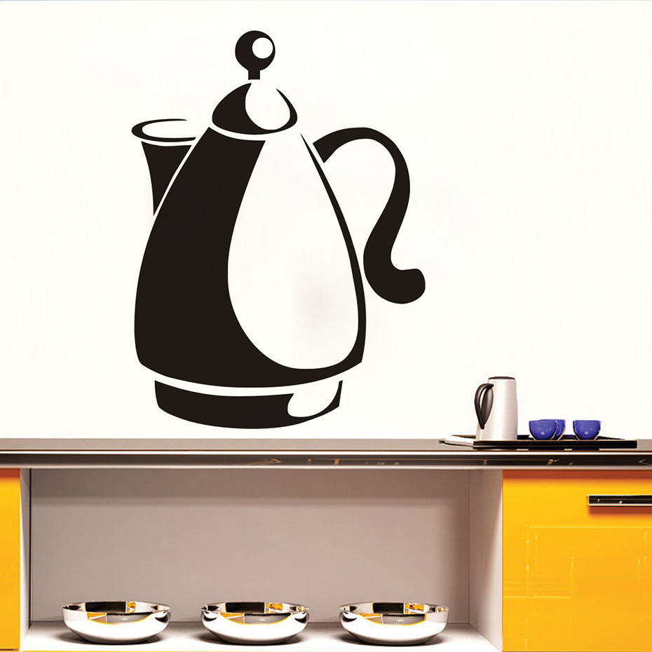 Removable Creative Design Kettle Pattern Kitchen Dining Wall Sticker Home Room Decor Vinyl Waterproof Stickers New Promotion