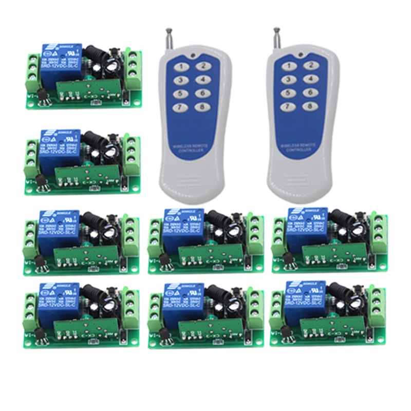 High Quality 2*Controller+ 8*Receiver Free Shipping 12V 10A Fixed Encoding Remote Control Switch Control 4282 10 50v 100a 5000w reversible dc motor speed controller pwm control soft start high quality