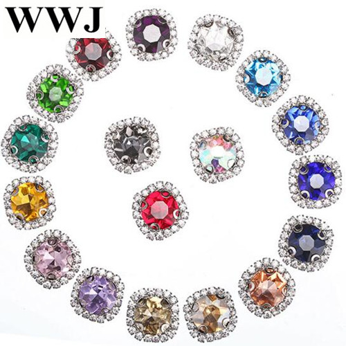12mm 20pcsbag White K base gem flower shape glass Crystal buckle sew on rhinestones with hole diy clothing accessories